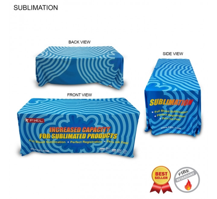 Table Throw 6' Fully Dye Sublimated 6' Tablecloth 100% Polyester (closed back)