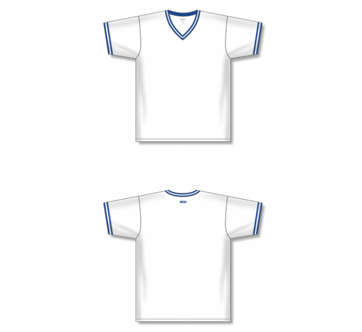 V-Neck Baseball Jersey - White/Royal