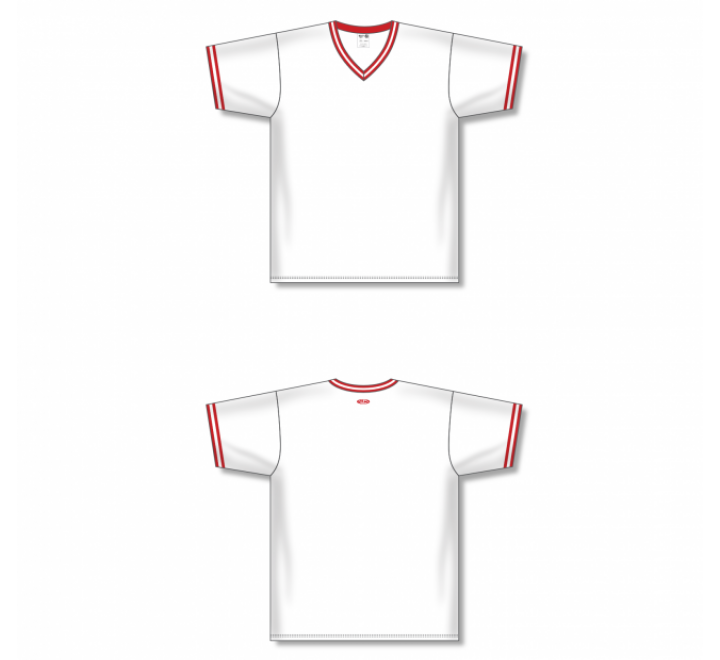 V-Neck Baseball Jersey - White/Red