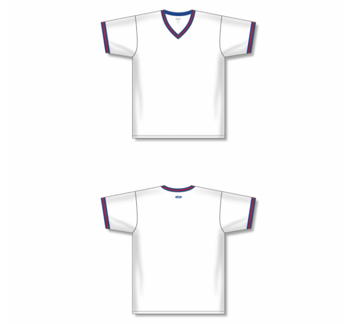 V-Neck Baseball Jersey - White/Royal/Red