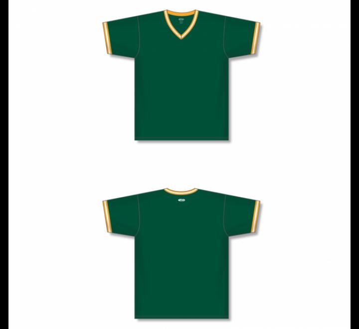 V-Neck Baseball Jersey - Dark Green