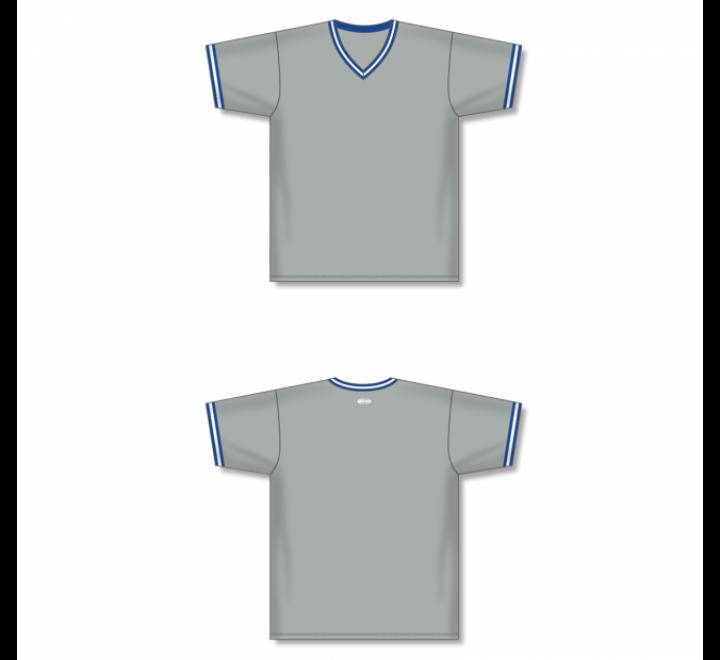 V-Neck Baseball Jersey - Grey/Royal