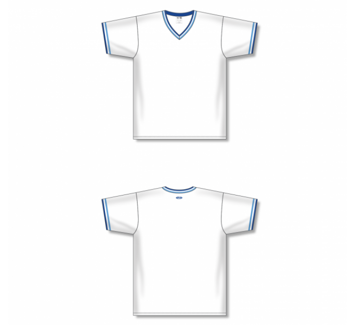V-Neck Baseball Jersey - White/Sky