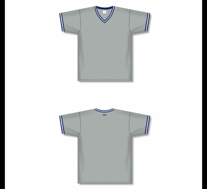 V-Neck Baseball Jersey - Grey/Navy