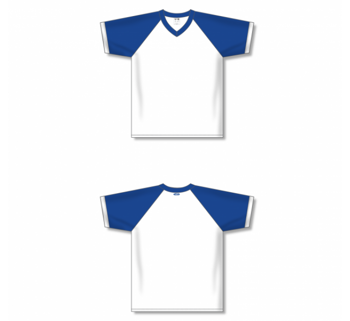 V-Neck Volleyball Jerseys - White/Royal