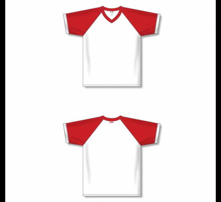 V-Neck Volleyball Jerseys - White/Red