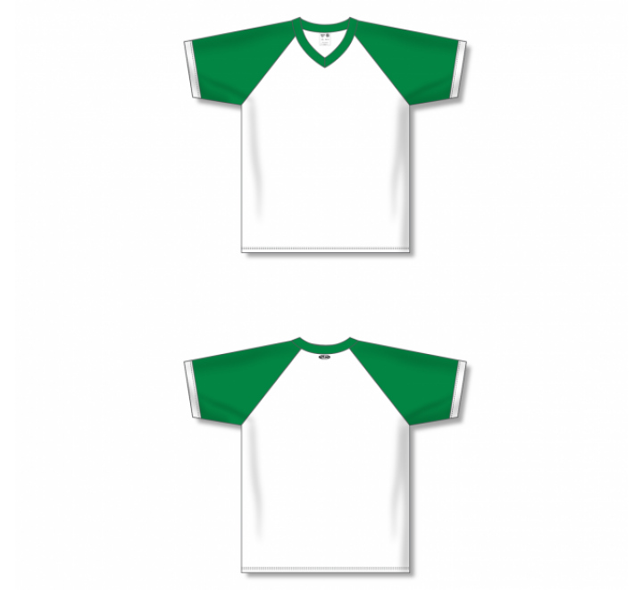 V-Neck Volleyball Jerseys - White/Kelly