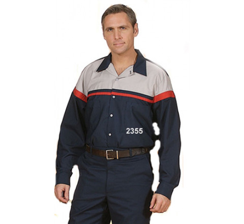 Long Sleeve Work Shirt Two-Toned- Navy