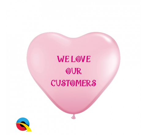 "11"" Heart Shaped Biodegradable Qualatex Balloons (1 Colour Print)"