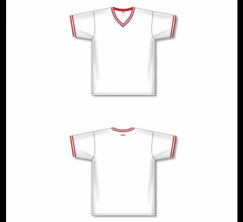 V-Neck Baseball Jersey - White/Red