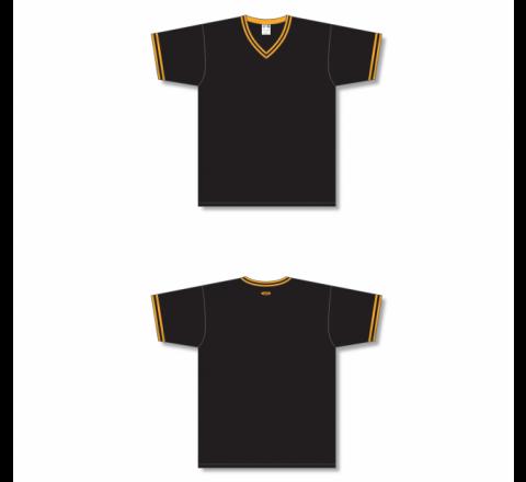 V-Neck Baseball Jersey - Black