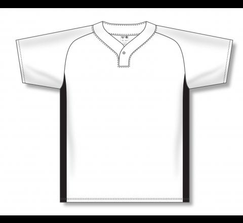 One Button Baseball Jerseys - White/Black