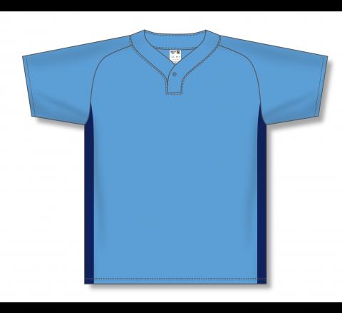 One Button Baseball Jerseys - Sky/Navy