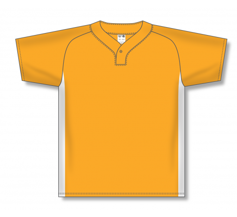 One Button Baseball Jerseys - Gold/White