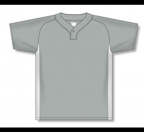 One Button Baseball Jerseys - Grey/White