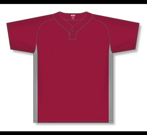 One Button Baseball Jerseys - Red/Grey