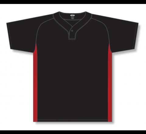 One Button Baseball Jerseys - Black/Red