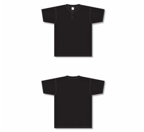 Two-Button Baseball Jersey - Black