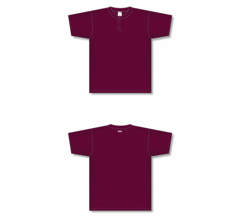 Two-Button Baseball Jersey - Maroon