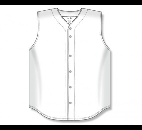 Full Button Baseball Jerseys - White