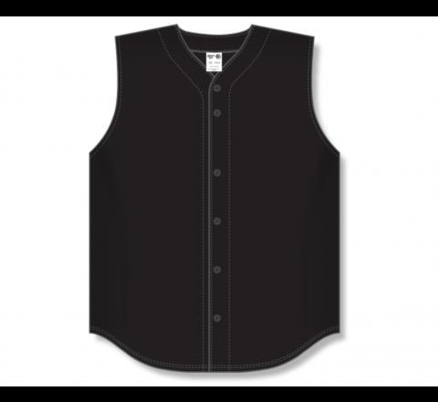 Full Button Baseball Jerseys - Black