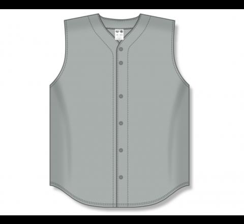 Full Button Baseball Jerseys - Grey