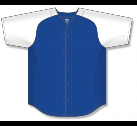 Full Button Baseball Jerseys - Royal/White
