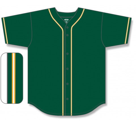 Full Button Baseball Jerseys - Dark Green/Gold/White