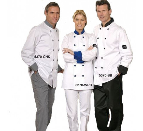 Chef Coats - Double Breasted White w Trim 65/35 Poly/Cotton