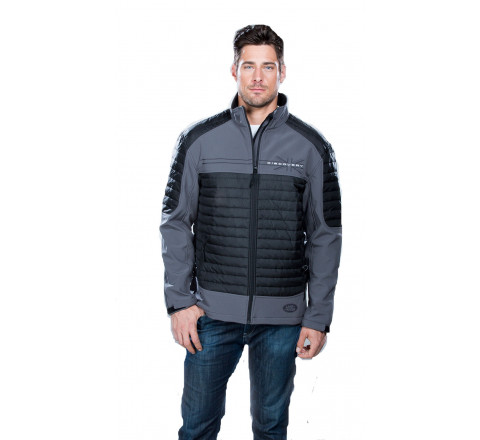 Men's 3-Layer Performance Softshell Jacket with Bonded Fleece Lining and Quilting