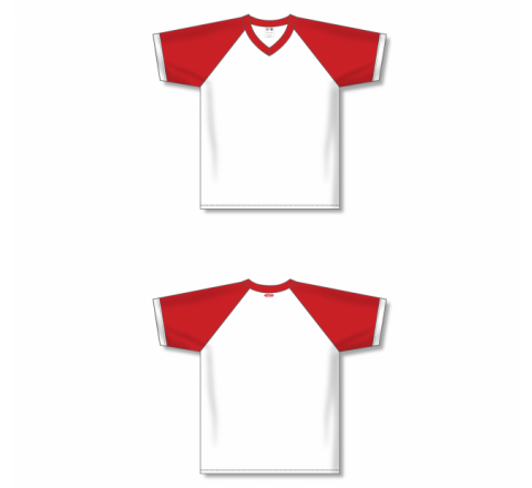 V-Neck Volleyball Jerseys - White/Red